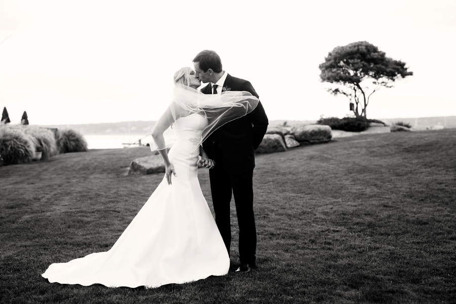 bride and groom portraits outside marblehead