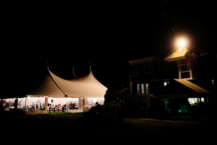 exterior night shot of tent