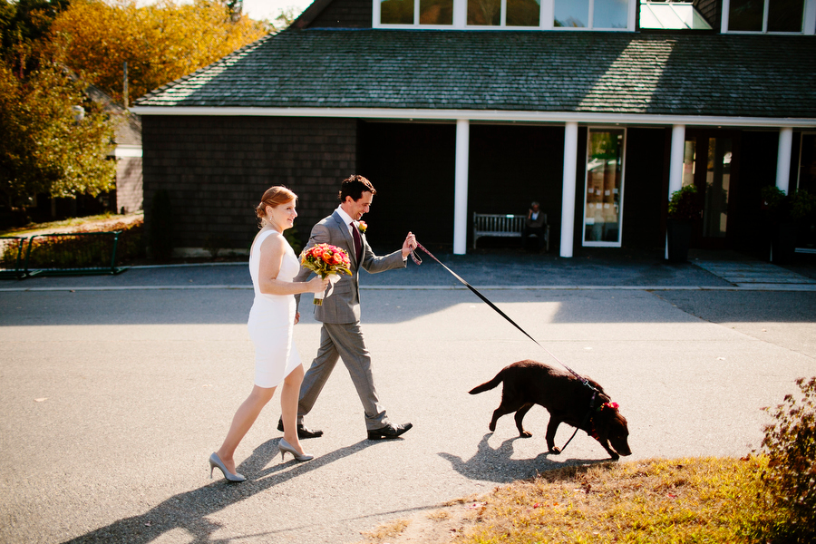 bride groom dog walking to ceremony