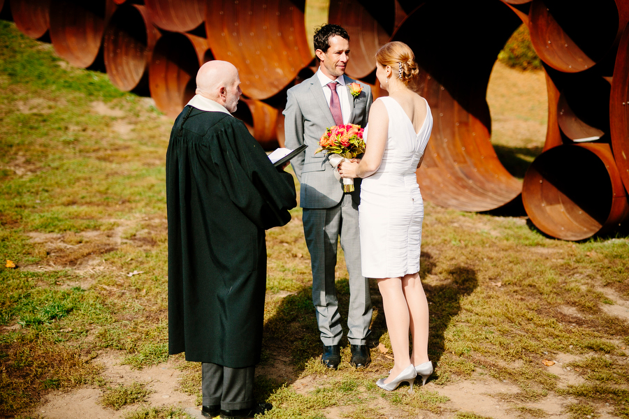 bride and groom and officiant