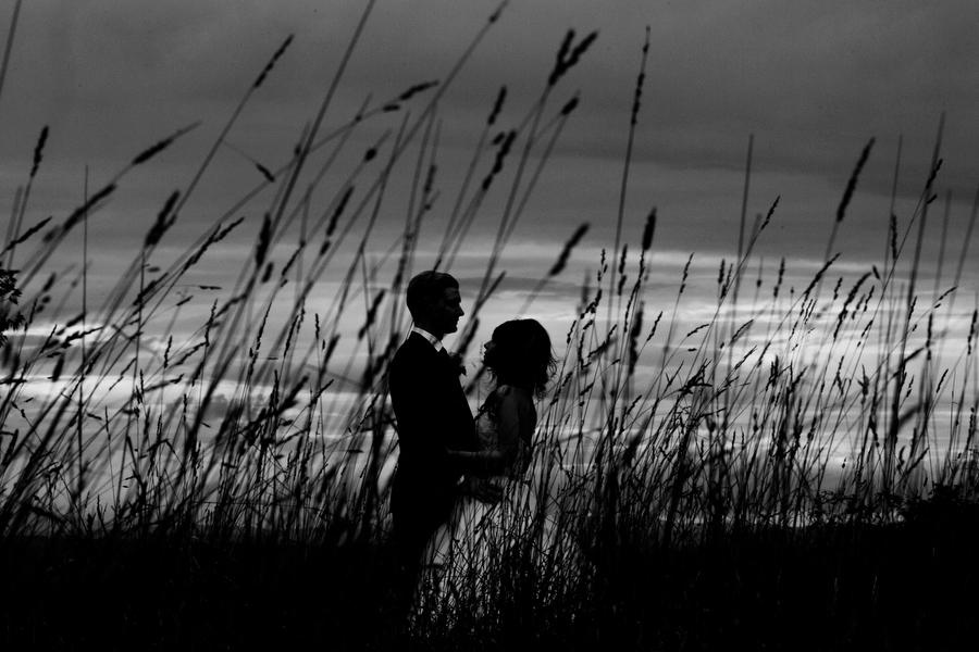 black and white portrait sunset