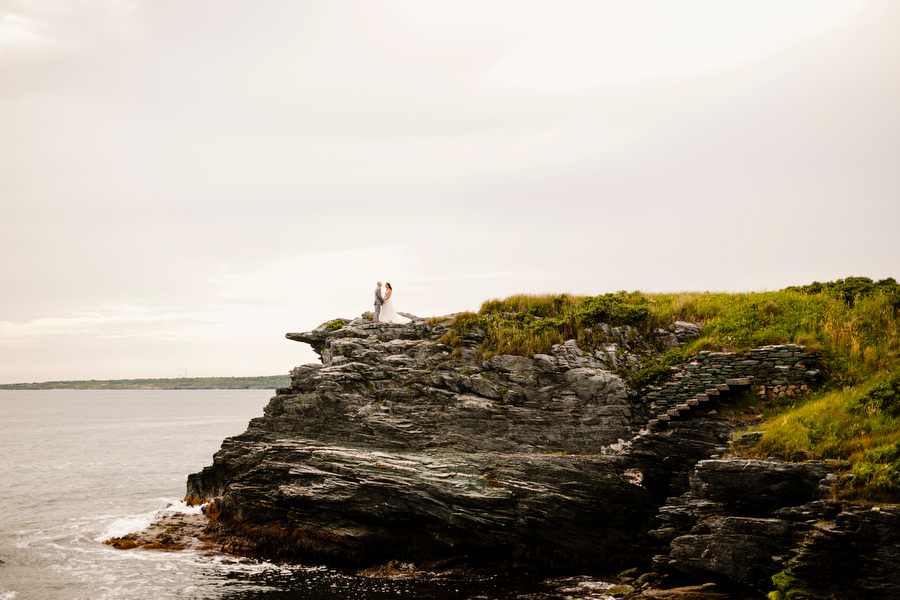 Bride and groom in newport