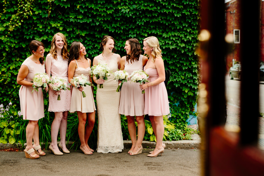 bridal party girls in pink