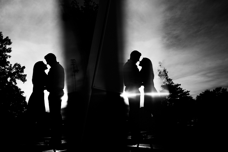 silhouette of couple during east boston engagement shoot