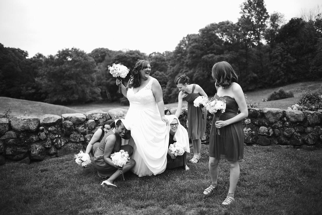 bride gets bustled at stonehurst robert treat paine estate wedding