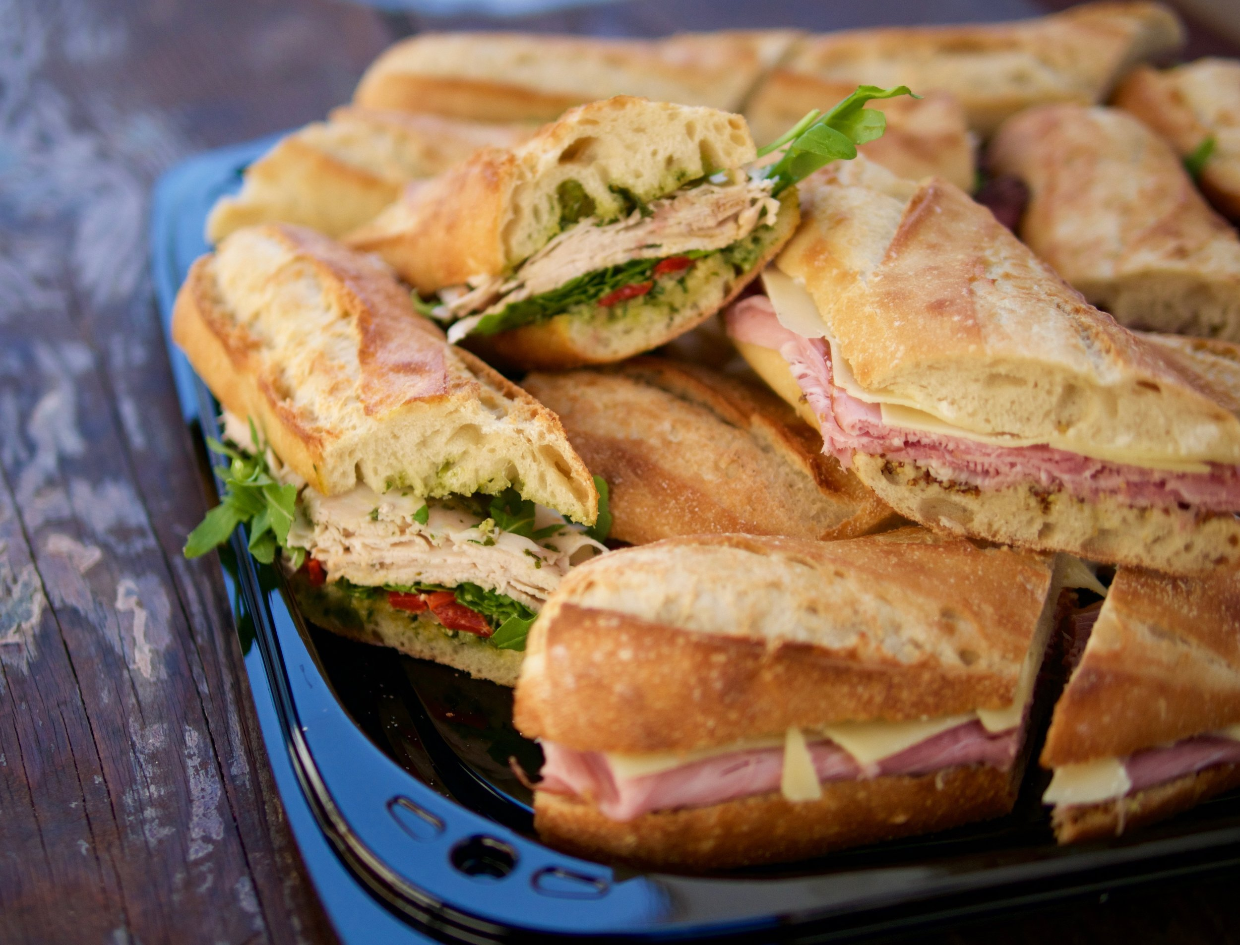 small sandwich platter with European style baguette sandwiches