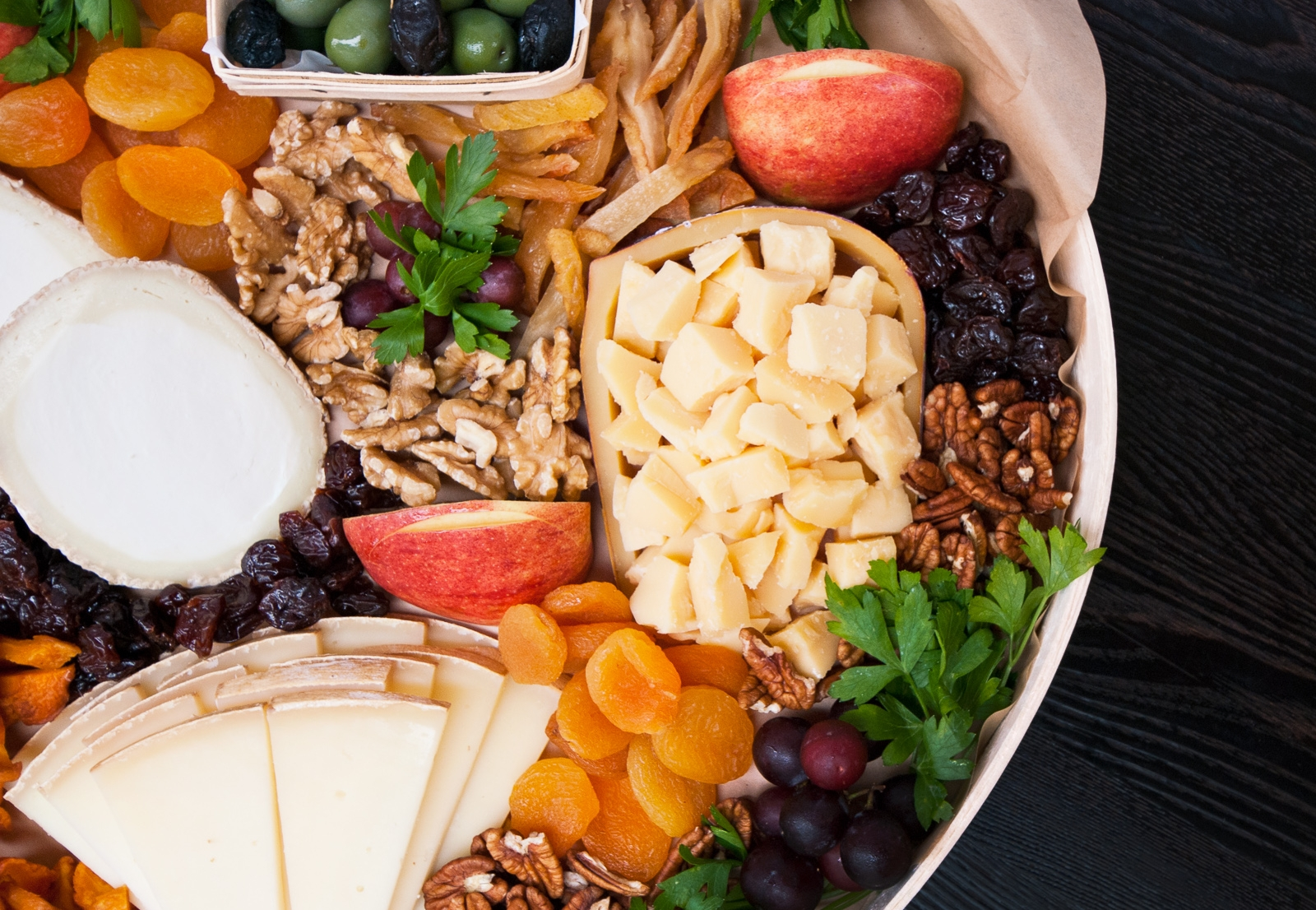 partial photo of signature large cheese platter  - feeds 20 to 30 people