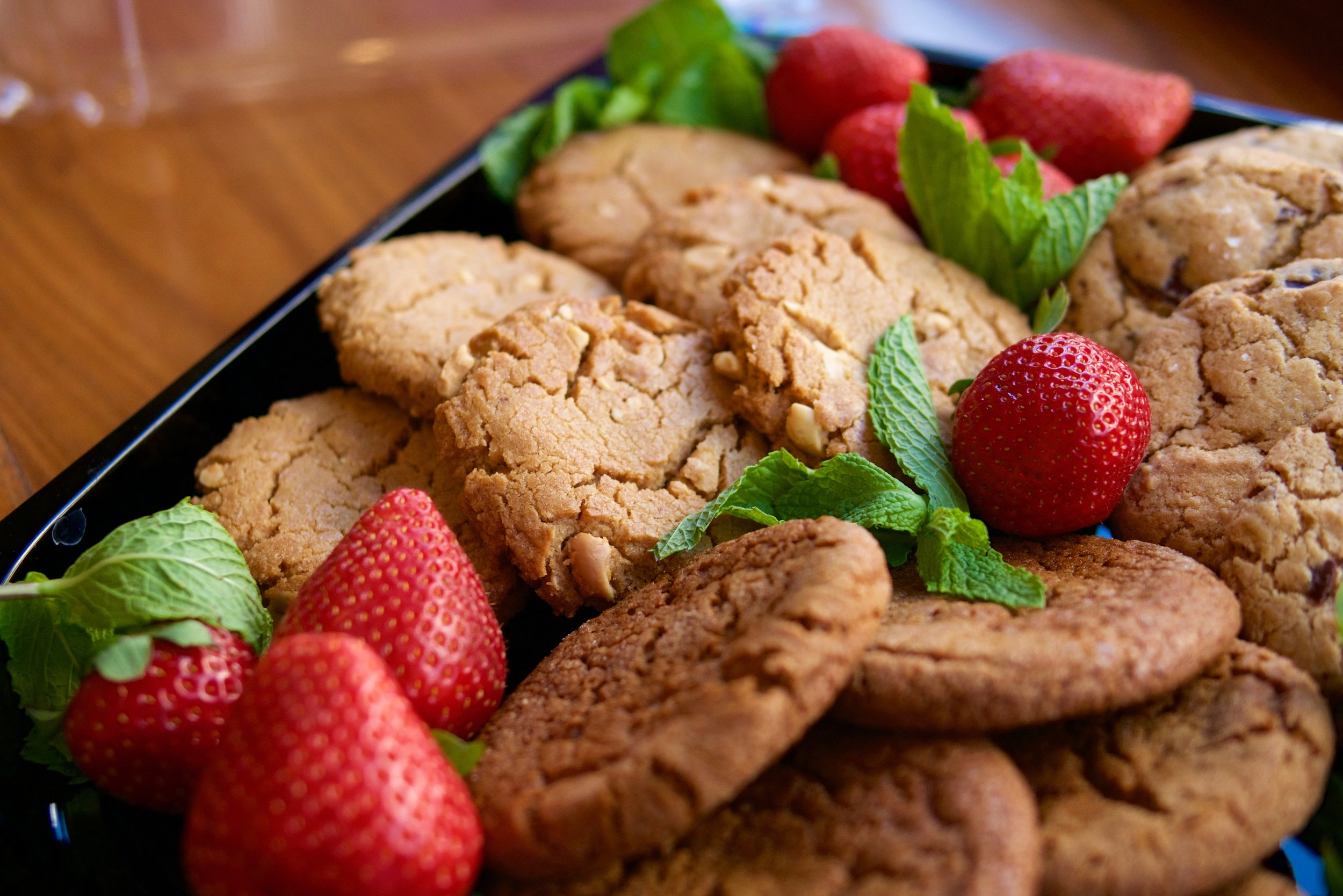 cookie catering platter with strawberries
