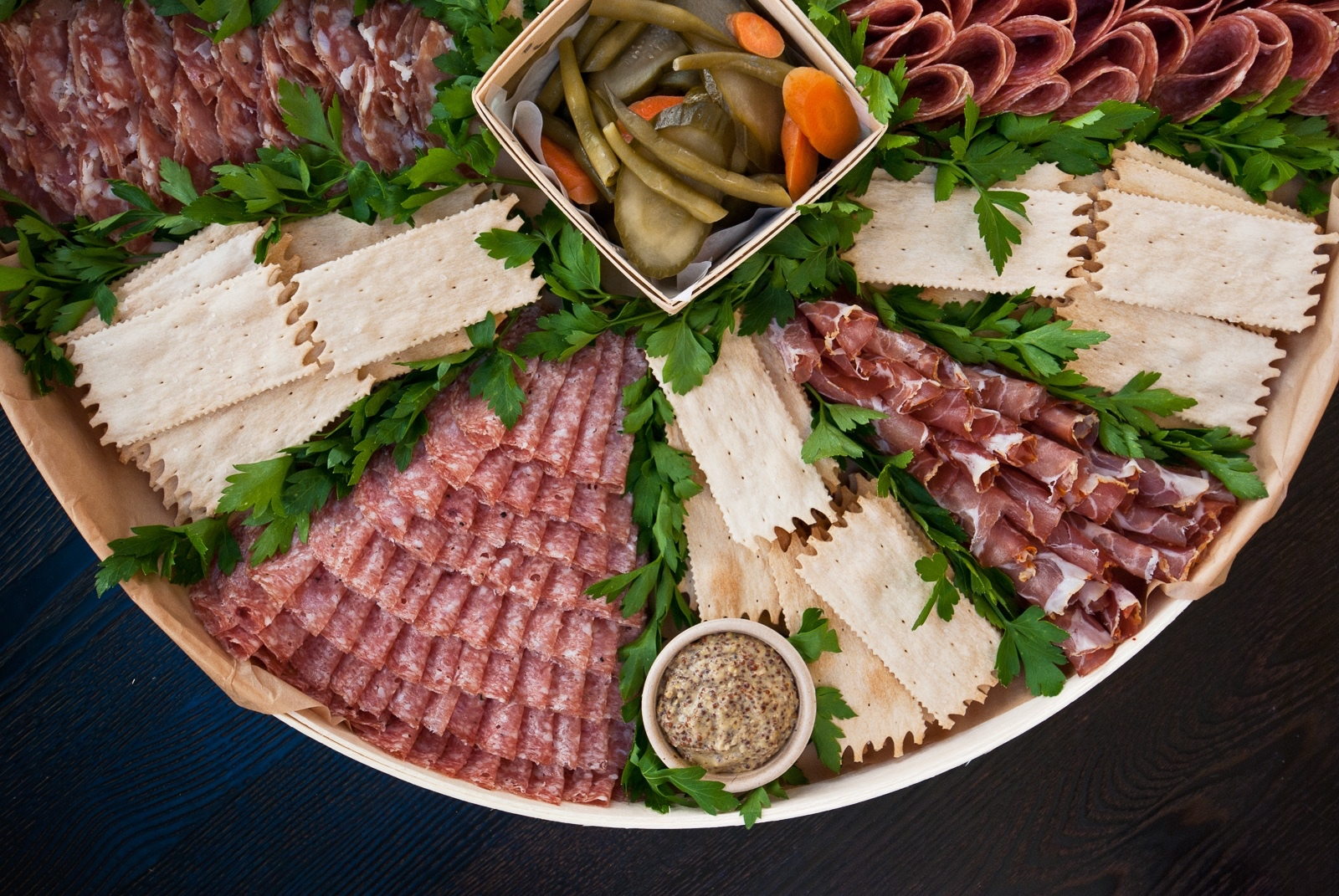 partial photo of large salumi platter - feeds 20 to 30