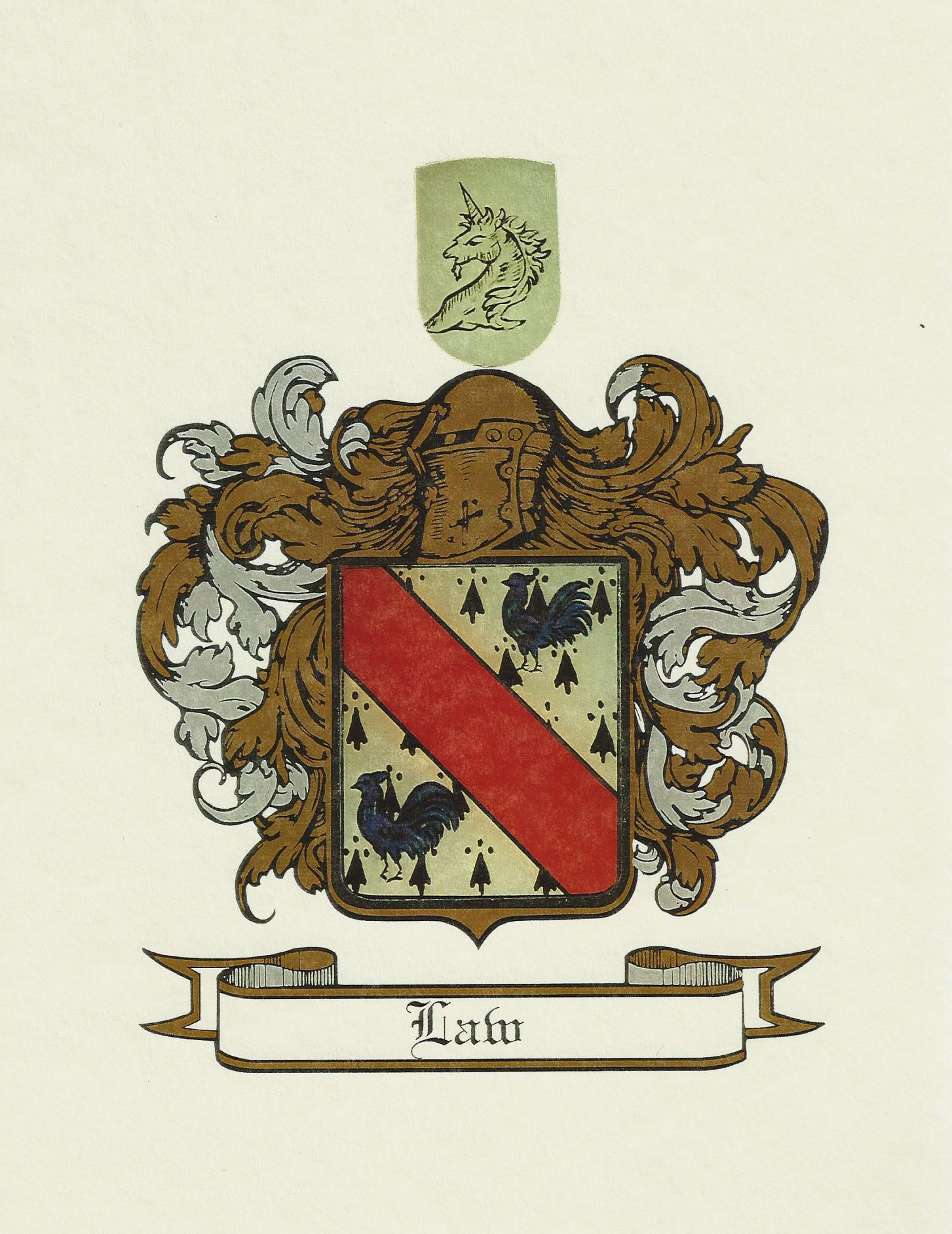 The Law Family Crest and Coat of Arms
