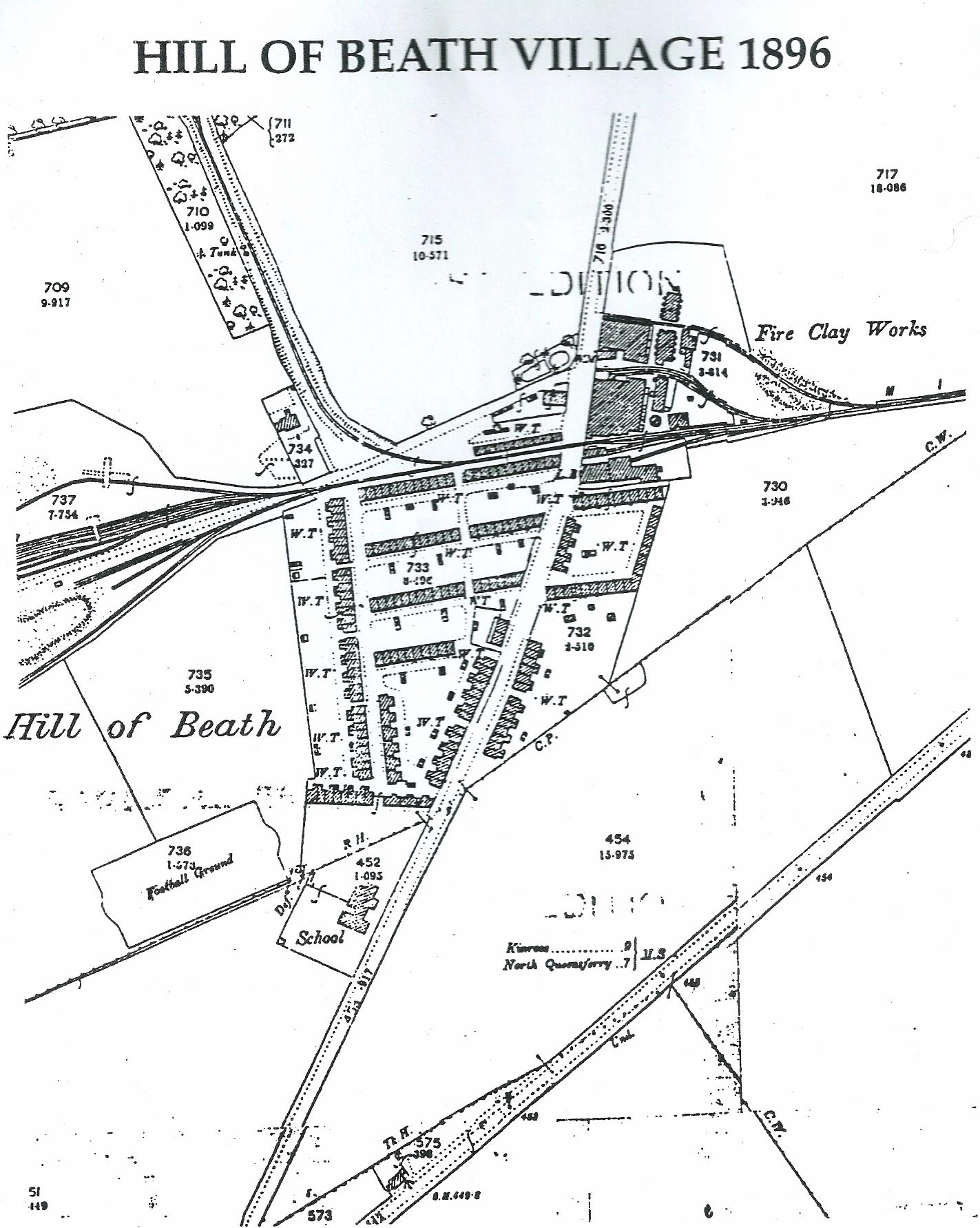 Map of Hill of Beath, Fife 1896. Thomas Knox GGF and wife Janet Myles lived here and had x3 children, John, James GF, Christina during this time. The Miners' row housing was built by the Fife Coal Company. The map also shows the Football ground, School and Fire Clay works