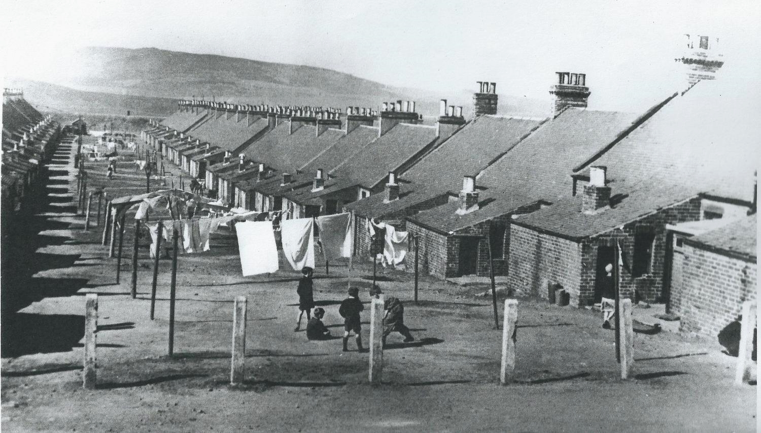 A typical Miners' Row, Fife, with washing on lines