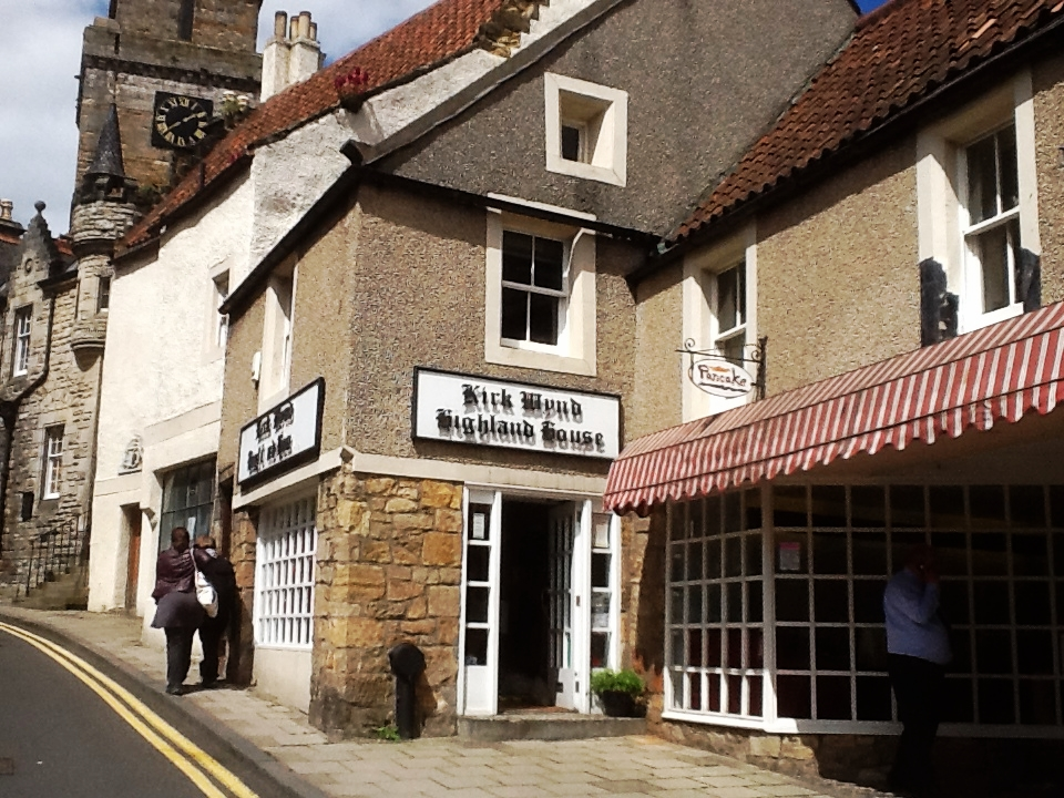 Kirk Wynd no. 32 , previously the home of the  'Myles' family , is now a shop, Kirk Wynd Highland House, kilt makers and a place to hire kilts!