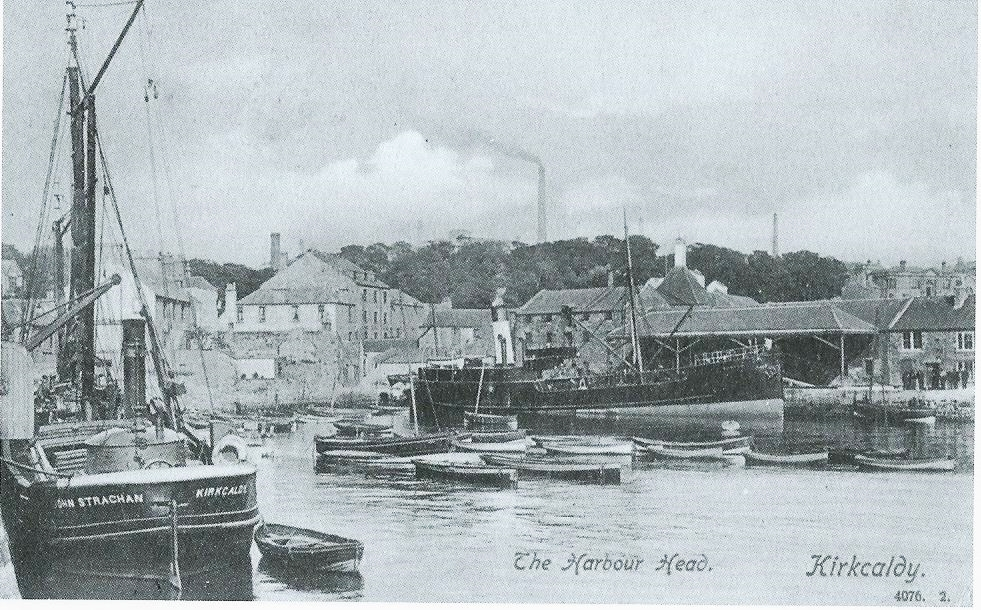 Kirkcaldy Harbour - once a busy commercial Port with ships bringing in cork and linseed oil for the linoleum industry and clay for the potteries. Cargoes of coal were exported.