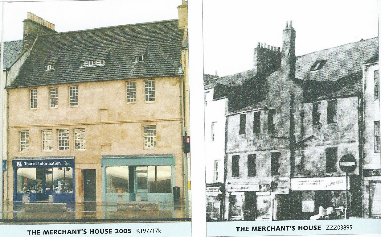 Merchant House opposite the Harbour - now restored (left-hand shot). Prominent shipping families included the 'Laws' but no relation!!