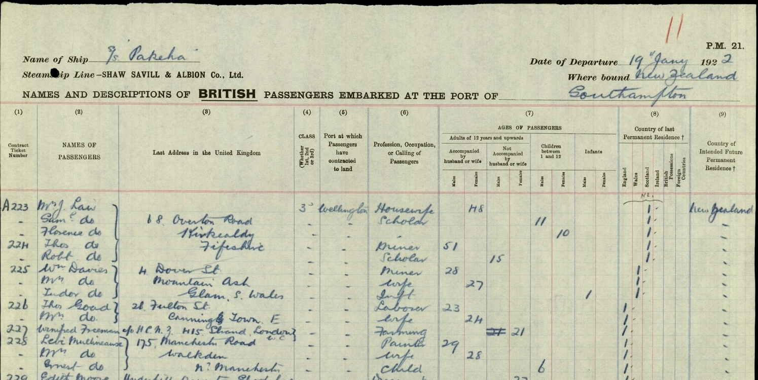 Pakeha ship Passenger List showing the 'Law' family (Thomas Law GGF and wife Janet Law (Myles) and children Sam, Florence, Robert) were living at 68 Overton Road, Kirkcaldy before they left for NZ, 19 January 1922.