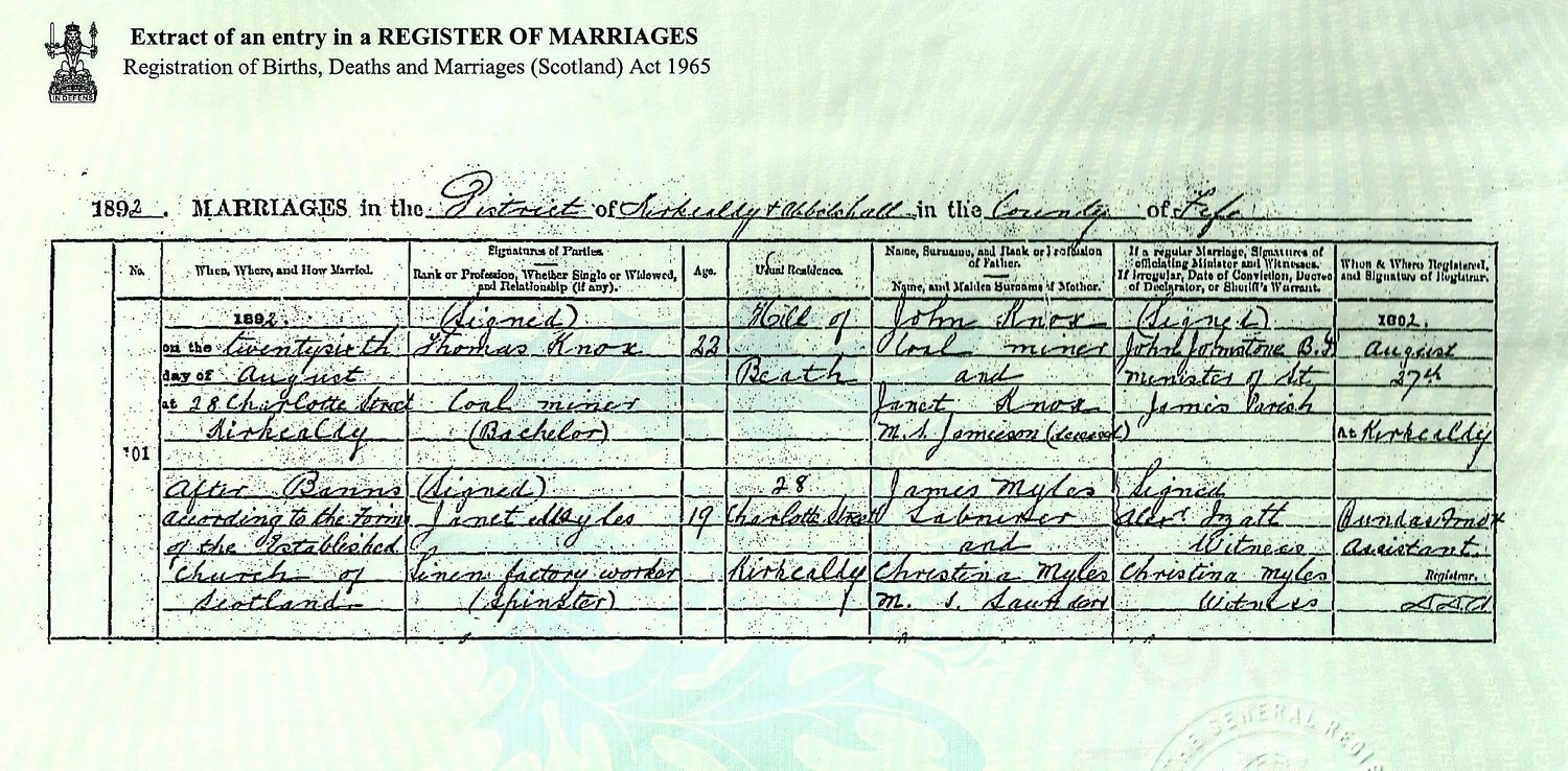 Marriage Certificate Thomas Knox (GGF, really Law) marries Janet Myles, Kirkcaldy, Fife, 1892.