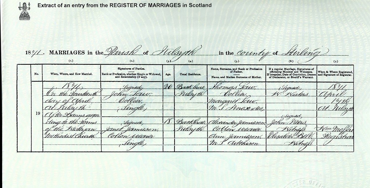 John Law GGGF and father of Thomas above marries Janet Jamieson, Kilsyth, Stirlingshire, 1871. This is 10 months after the birth of their son 'Thomas' GGF - see birth certificate below.