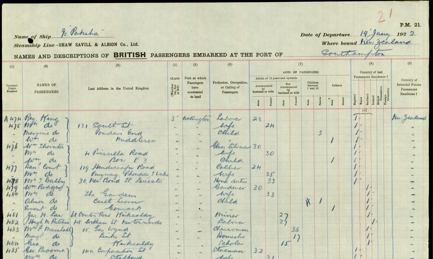 Jas (James) Law GF islisted on the  Pakeha  Passenger list on his own, passenger 481, age 27yrs, miner. 68 Overton Rd his last address in Kirkcaldy, Fifeshire