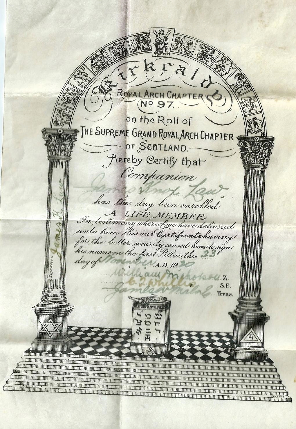 GF is James Knox  Law  as seen on his life membership certificate of the Kirkcaldy Masons, Royal Arch Chapter No. 97 in 1920. Further evidence of the name change back to Law