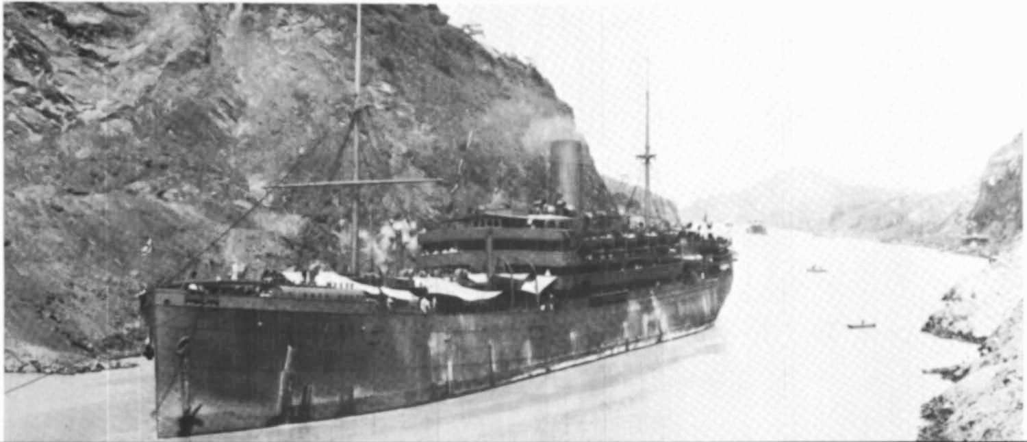 The  Remuera,  operated by the New Zealand Shipping Company, was the first passenger steam ship to pass through the Panama Canal from New Zealand to London.