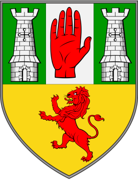 "The Antrim Coat of Arms                   ""Through Trials to Triumph"""
