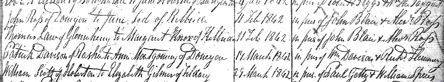 First Ballyeaston Presbyterian Church Marriage Entry  - 11 February 1842 - Thomas Law Glenwhirry, Margaret Knox, Kilbride (parishes in County Antrim)
