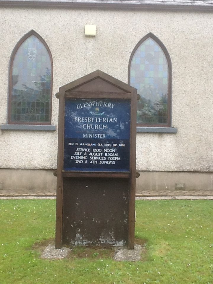 Glenwherry (Glenwhirry) Presbyterian Church is very near the principle road through the Parish of Glenwherry, the A36 from Ballymena to Larne on the east coast. GGG Grandfather Thomas Law came from Glenwherry but when he married Margaret Knox in 1842, there was only a Meeting House for worship, the above church had not been constructed and they married at First Ballyeaston.