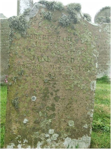 Robert Harcus erected a Headstone in the Old Kirkyard in Eday, in loving memory of his Mother, Jane Reid who died 8th March 1868, aged 60 years.