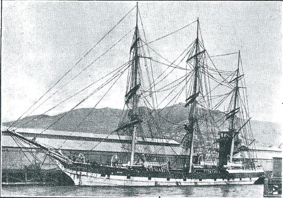 The Nelson  - the sailing ship who brought the Harcus family and other immigrants from Scotland to the colony, New Zealand in 1874.