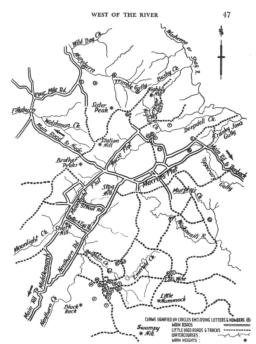 Map of Macraes Flat and surrounding Districts showing the location of various Gold-Mining Claims *. Robert Harcus lived in Moonlight and had land near the Road to Nenthorn close to Macraes Flat.