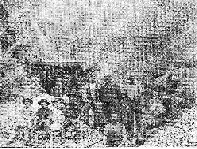 An example of a Macraes Flat drive in type Gold-Mine as apposed to gold mining using water sluicing. This 'gang' of men are sitting on approximately 100 tons of scheelite.