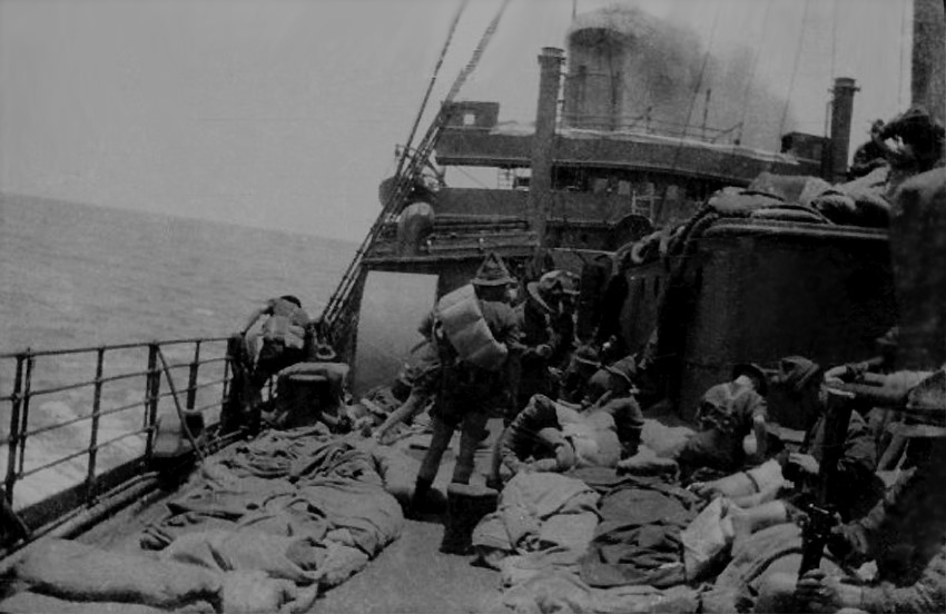 RMS Ruapehu , troopers sometimes preferred to sleep on deck due to the hot weather conditions.