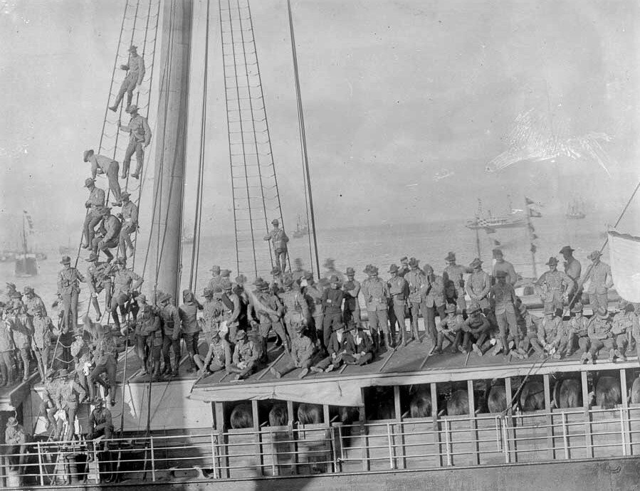Example of a Troopship with Troopers and horses departing NZ for the Second Boer War in S0uth Africa.  NZ History on line.