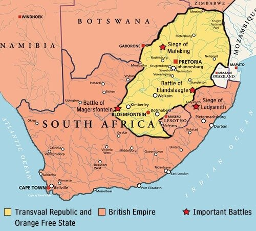 Key Battles where the Second Boer War was fought in South Africa 1899 -1902