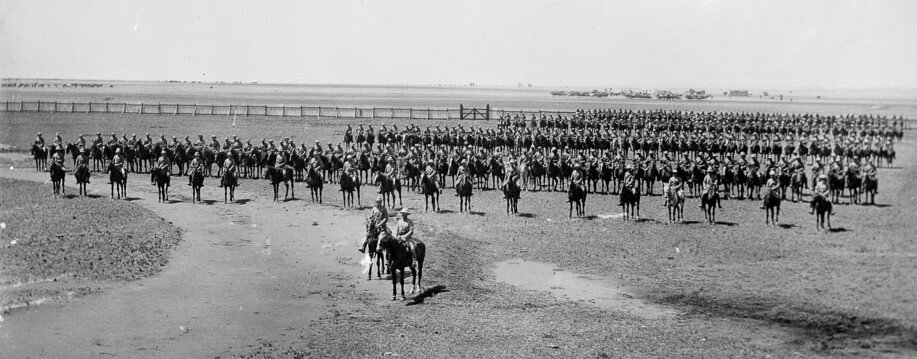 Example of a NZ Contingent, Mounted Rifles, on parade in South Africa during the Second Boer War. This was the 4th Contingent.  Google image.