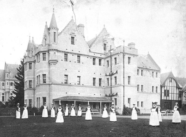 Seacliff Lunatic Asylum, Dunedin. Robert Harcus junior was a patient from 1909 - 1912. It was sometimes referred to as a 'fantasy castle' due to its Gothic revival design. Sir Frederick Truby King turned it into a 'Farm Asylum' and patients were encouraged to do meaningful work and grow their own food.