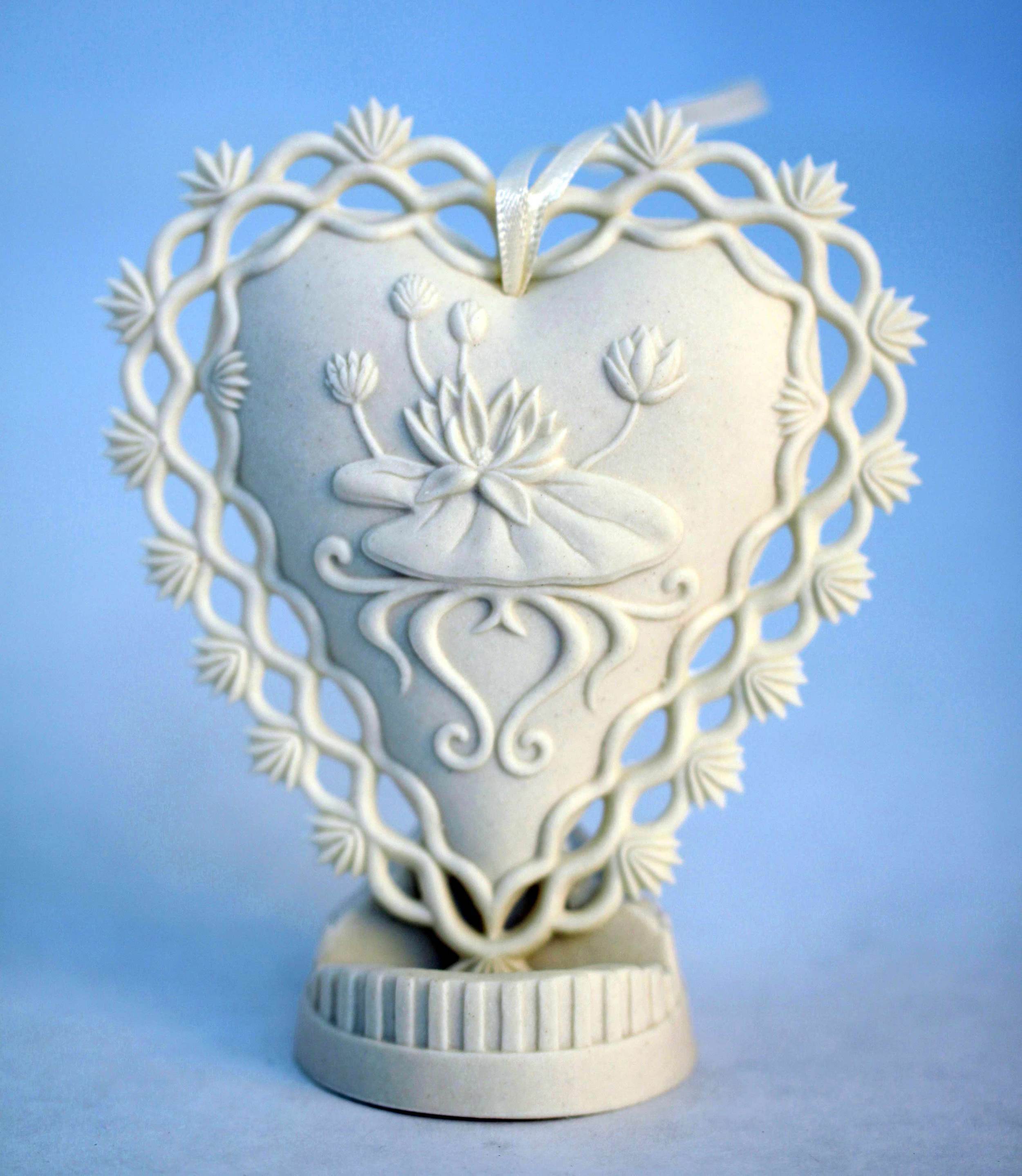 Beside Still Waters Heart Gift Ornament - Porcelain - Displayed on optional porcelain stand.