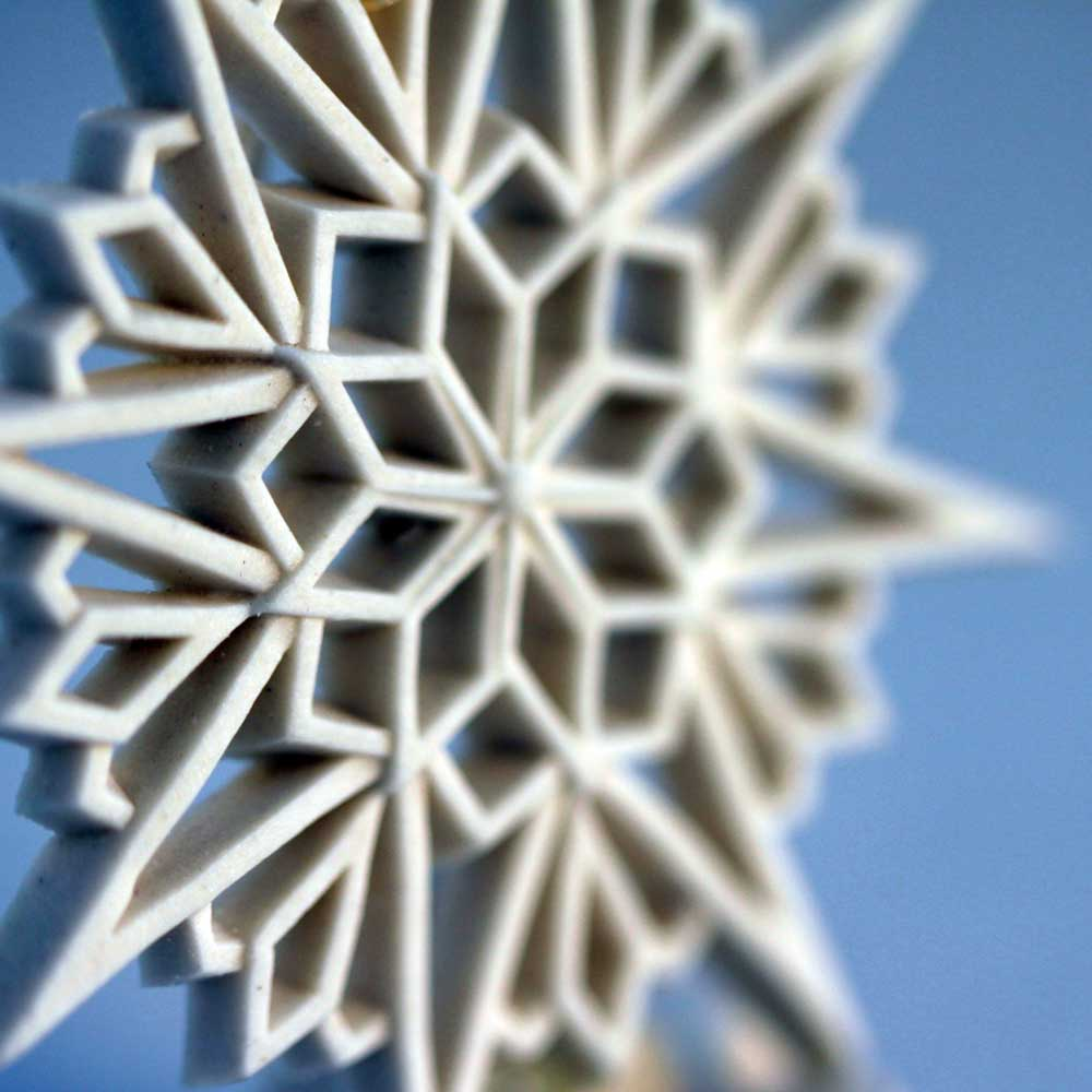 White Porcelain Annual Collectible Snowflake Ornaments. Hand Made in USA.