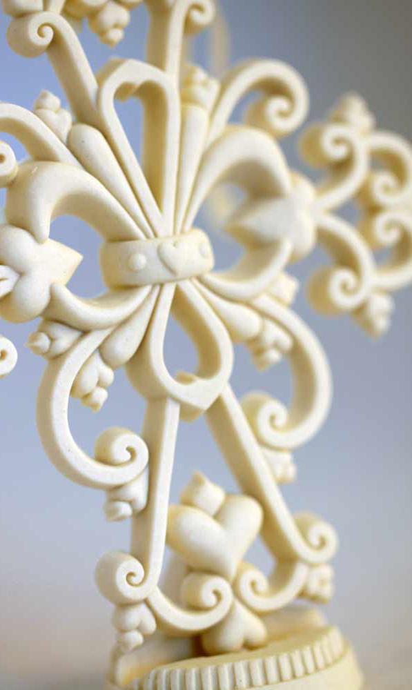 Embracing Love porcelain cross ornament for celebrating Mother