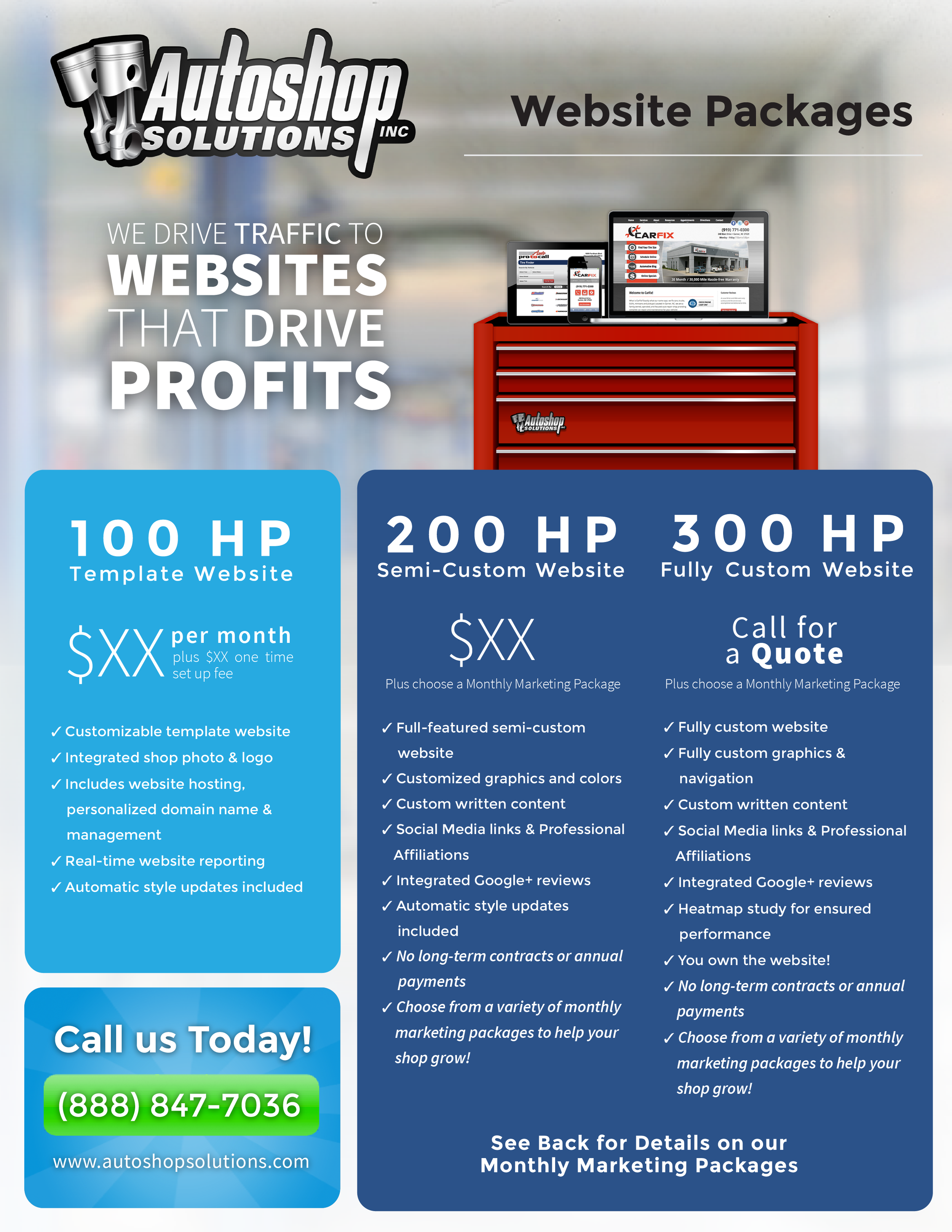 Autoshop Solutions Inc. Website Packages Flyer - Front