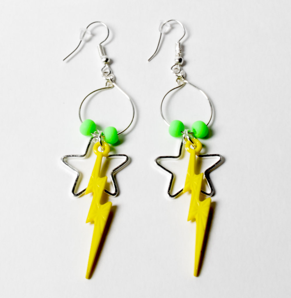 Yellow Lightning Bolt Earrings Emily Harris Photography