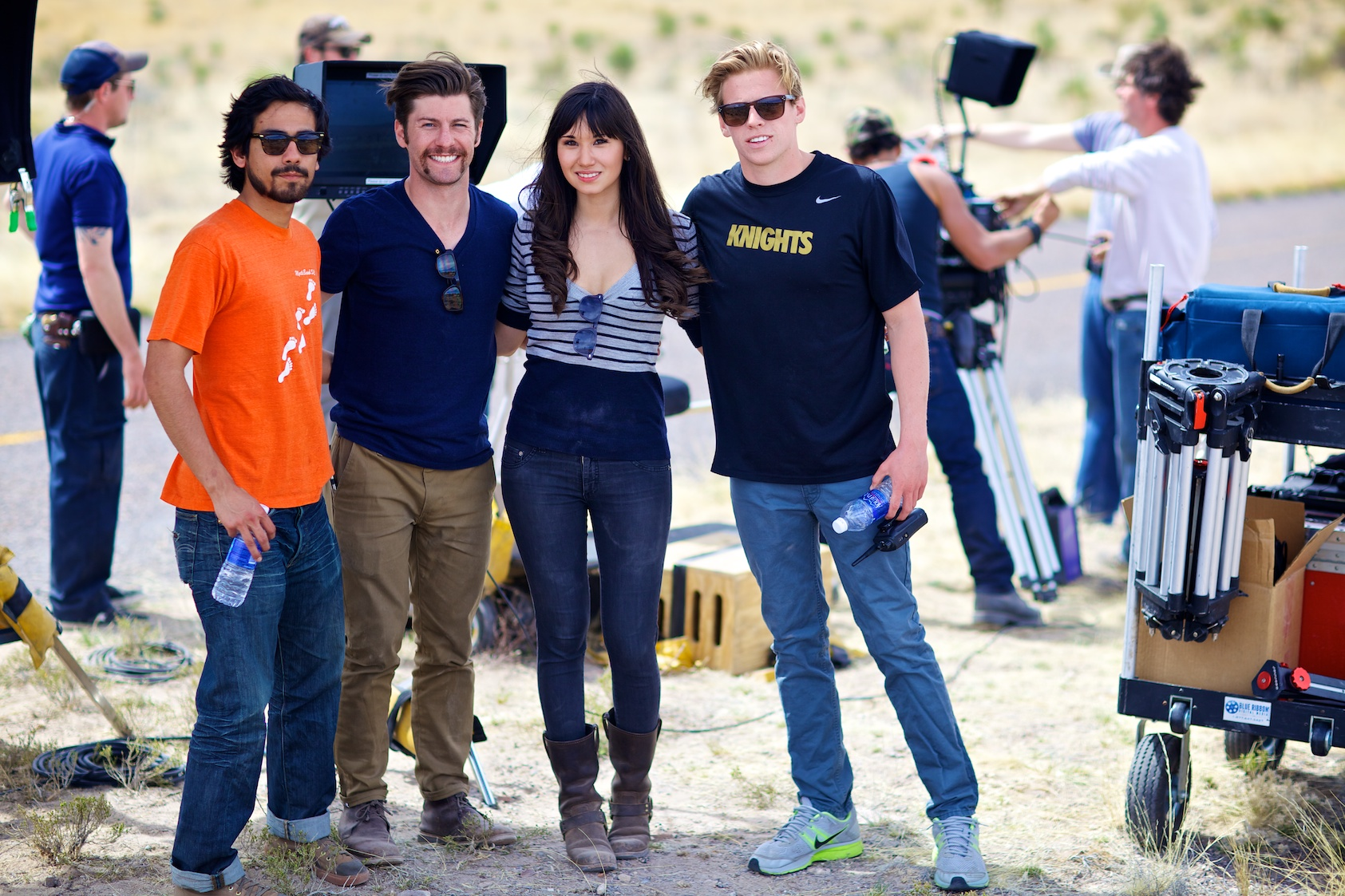 Let to Right: Cesar Jasso, David Redish, Leah Chen Baker, Matthew Mills gather before the film's final shot.