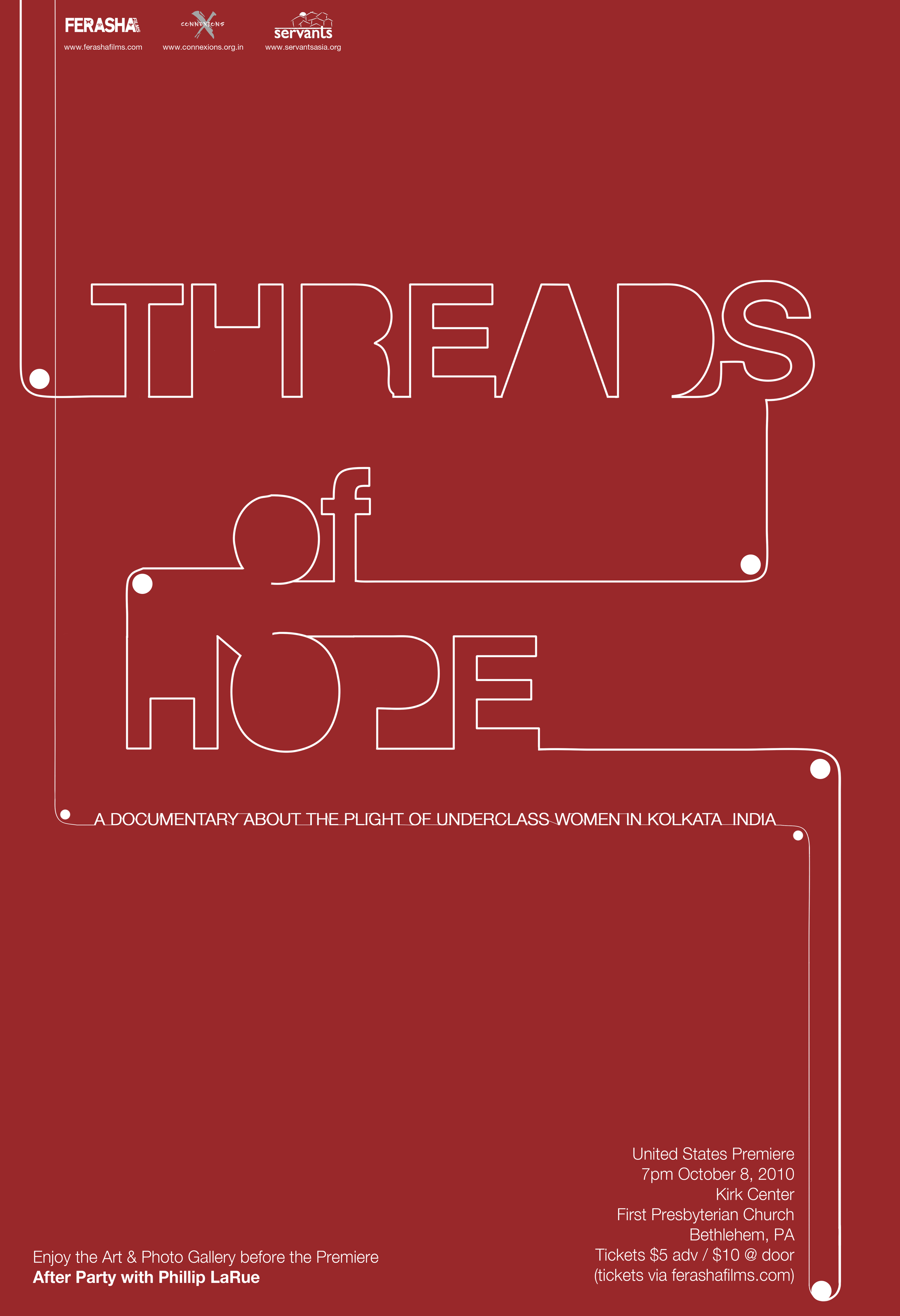The official poster of Threads of Hope. Ferasha Films.