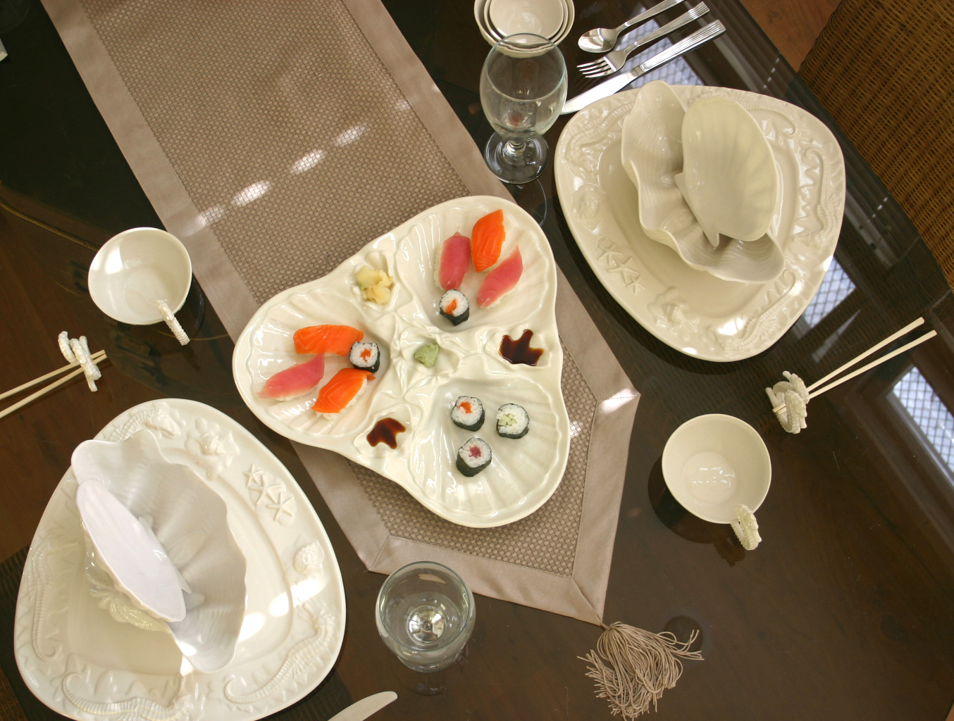 Scallop Shell Three Section Serving Platter - the Centerpiece that makes your table dance!