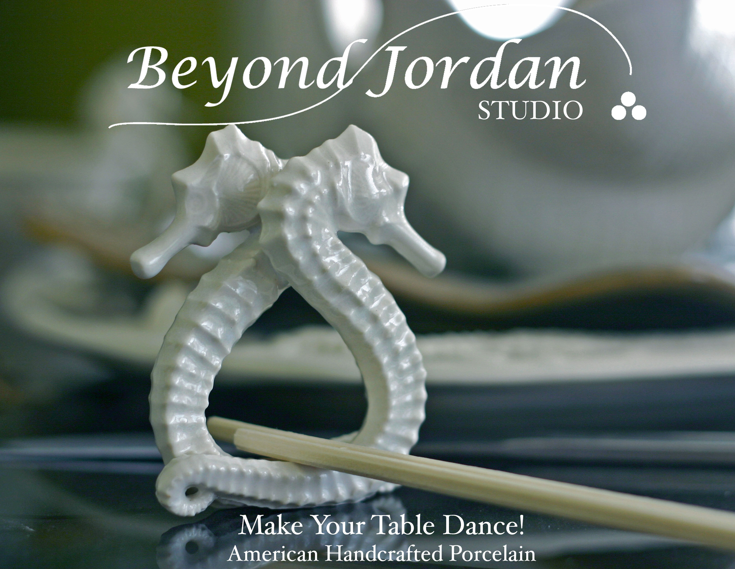 Handcrafted American Porcelain  Seahorse Chopsticks Rest .   (  50mm ISO 200 f2.8 1/50 Natural light 0930)