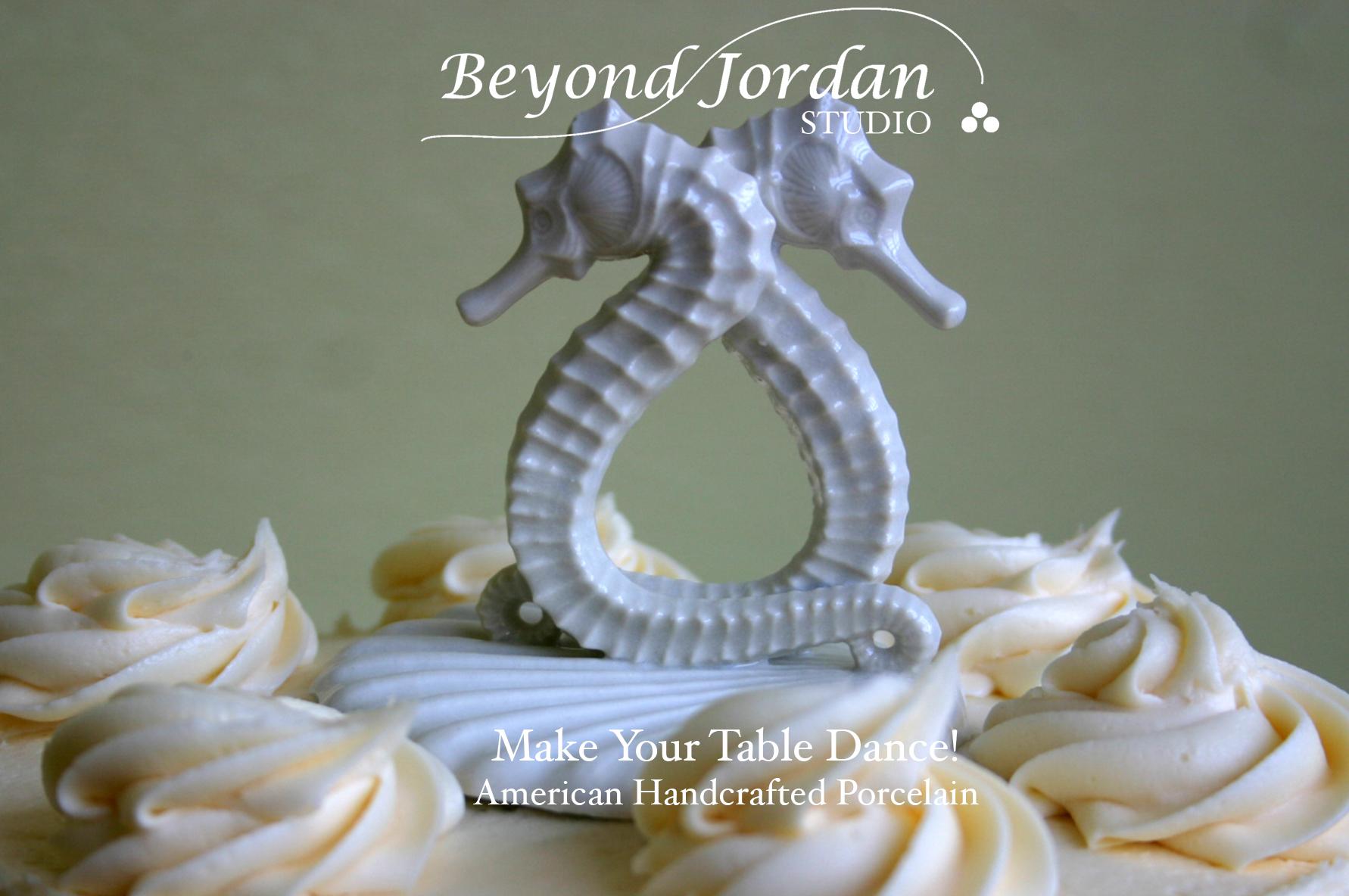 Porcelain Seahorse Wedding Cake Topper