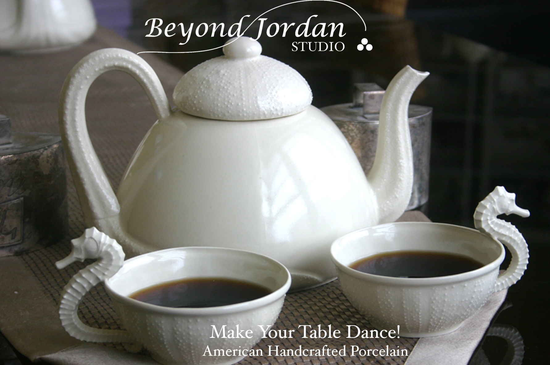 Seahorse and Sea Urchin Porcelain Teacups