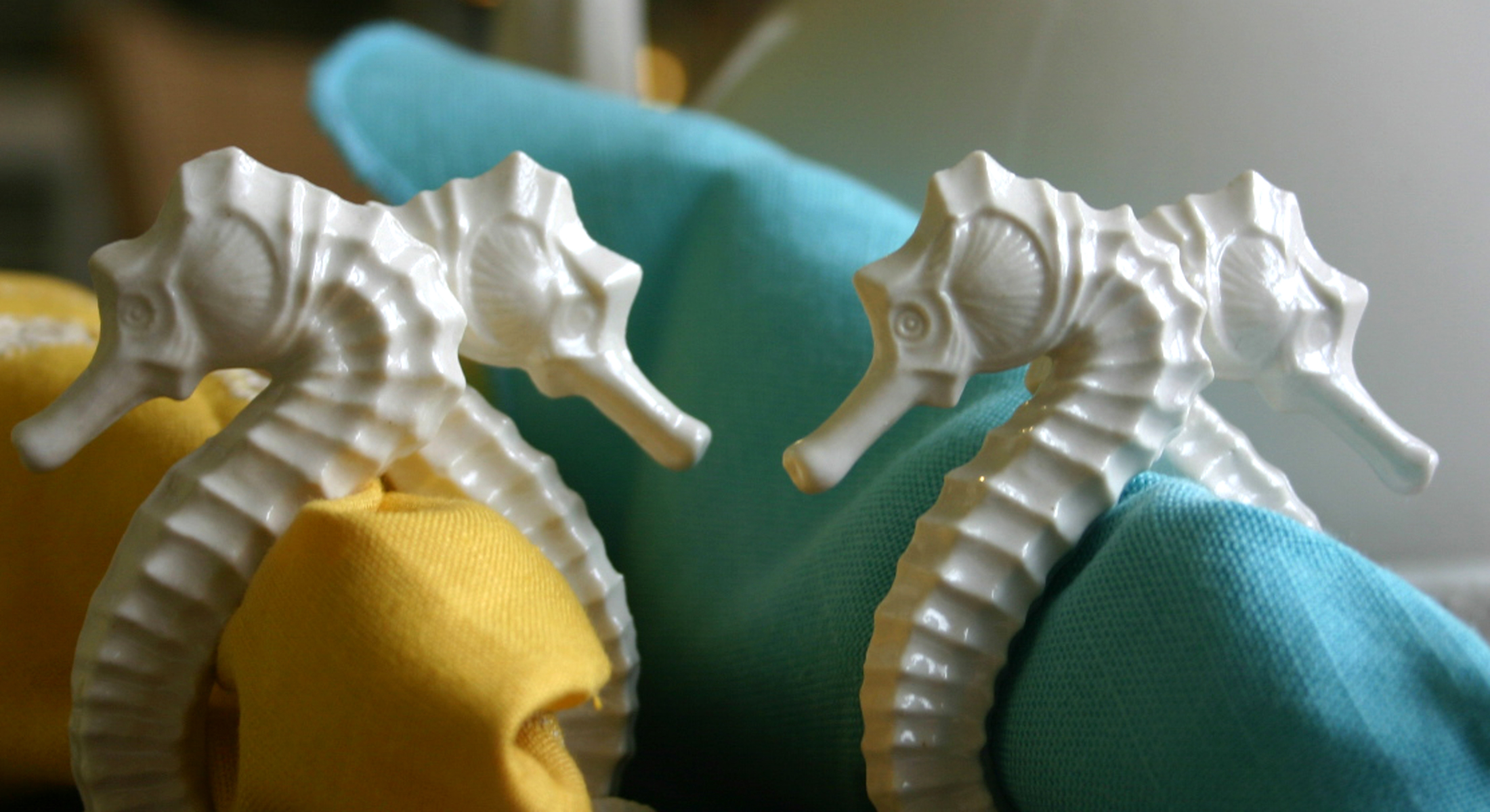 seahorse napkin rings on blue and yellow