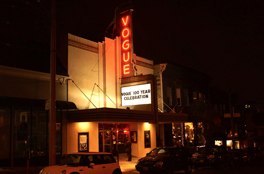 THE VOGUE THEATRE (1912)   SFNTF Purchased the historic Vogue Theatre in 2007.  It continues to operate as a first-run cinema through a partnership with CinemaSF.  A state-of-the-art digital projection system was introduced at the Vogue in 2013.